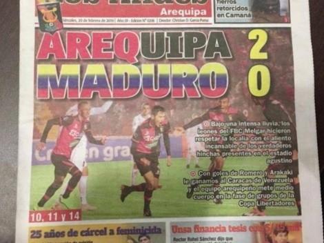 Melgar reacciona ante desubicada portada de diario peruano