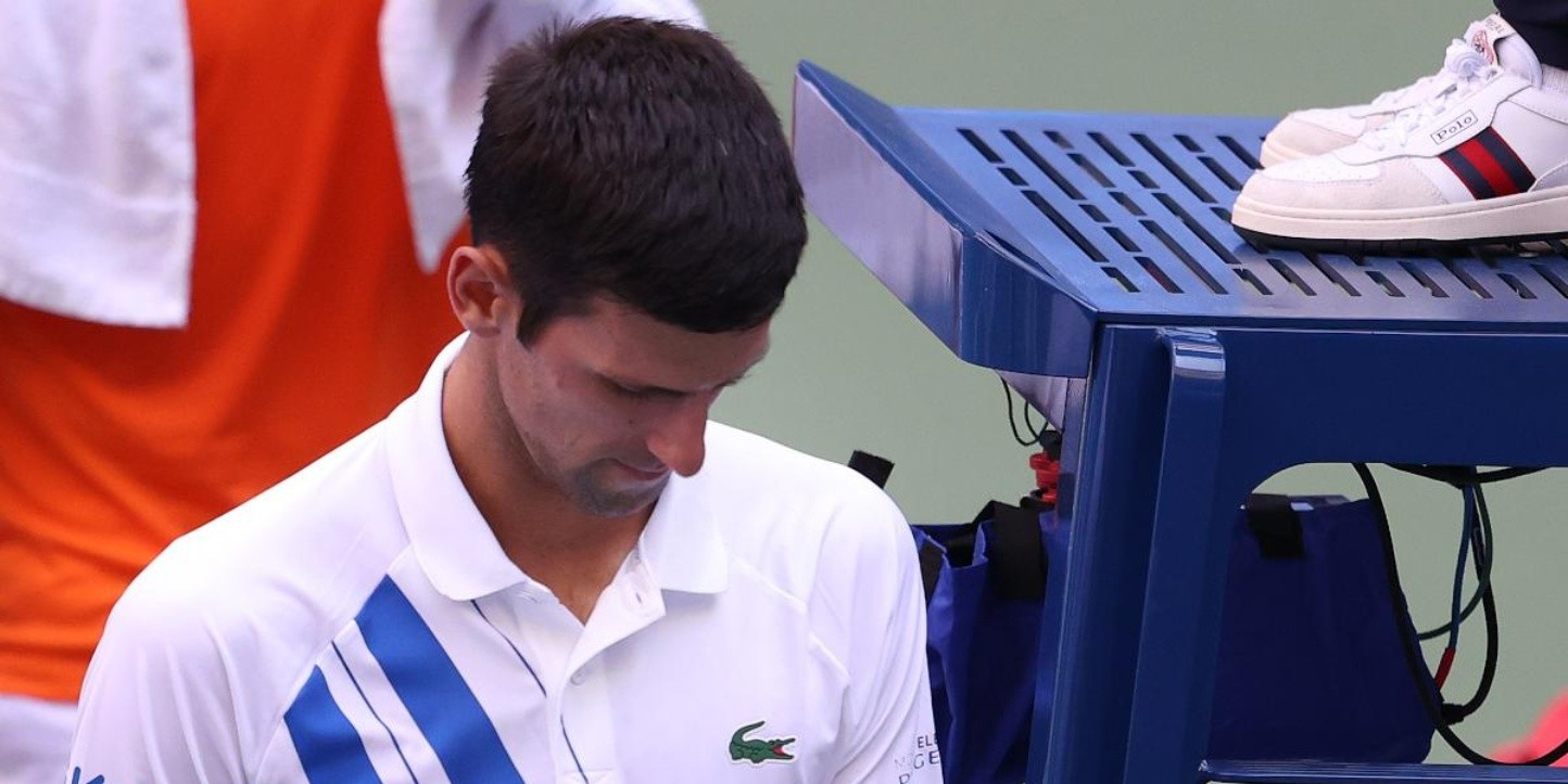 Novak Djokovic tras ser descalificado del US Open.