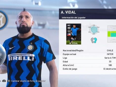 Vidal con una carta especial de 88 de media en PES 2021