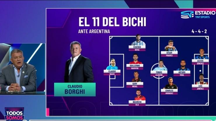 Formación titular de Claudio Borghi para Chile-Argentina