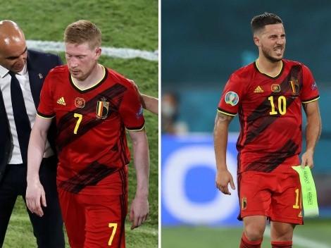 Bélgica avanza pero sufre con las lesiones de Hazard y De Bruyne