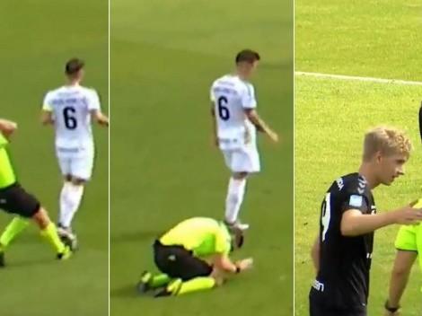 Inédito: árbitro se equivoca en un cobro y los jugadores lo consuelan