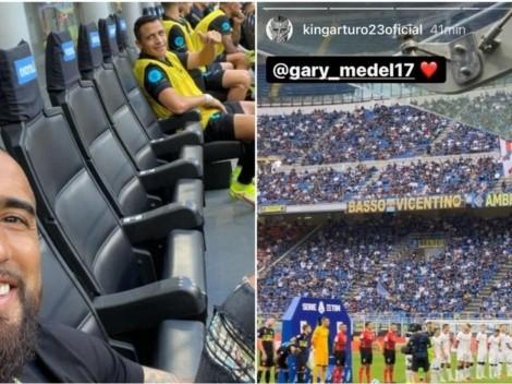 Vidal alienta al Inter desde la banca con Alexis y aplaude a Medel