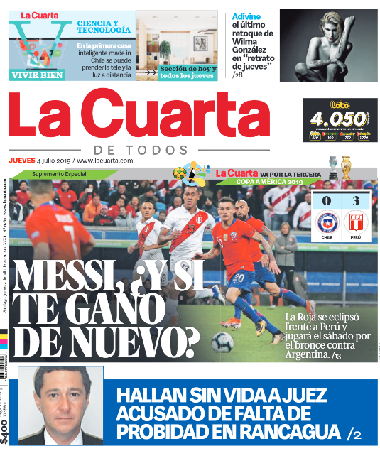 Portadas tras eliminación de Chile ante Perú por la Copa América ...