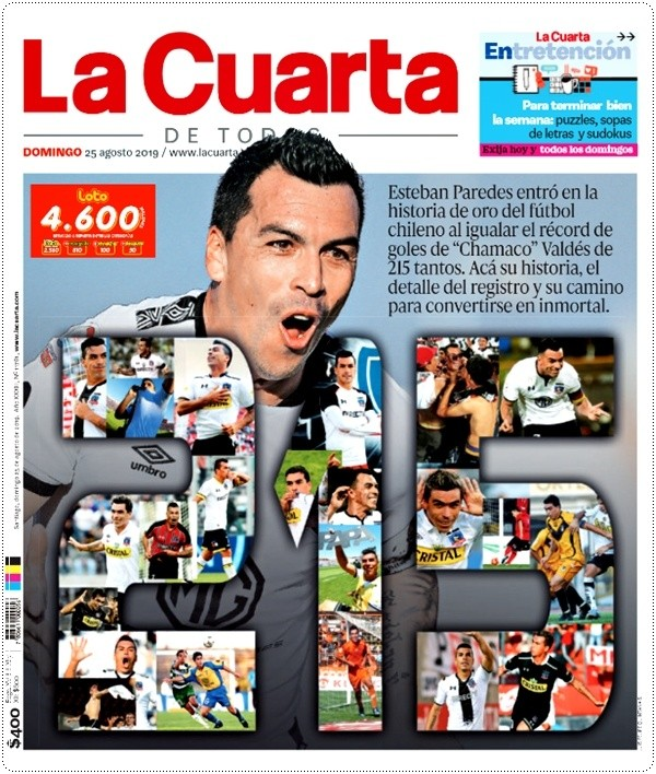 Esteban Paredes y su gol 215 acaparan las portadas de los ...