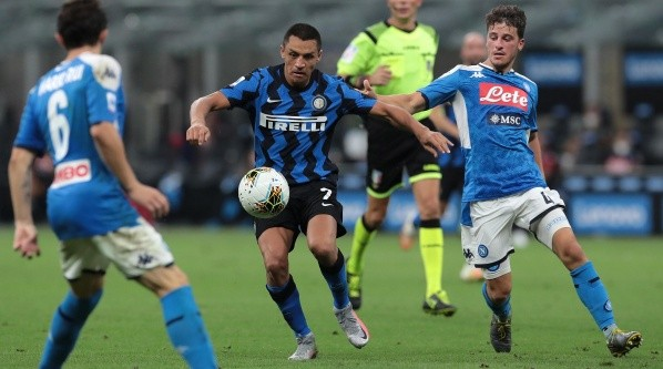 during the Serie A match between FC Internazionale and SSC Napoli at Stadio Giuseppe Meazza on July 28, 2020 in Milan, Italy.-Not Released (NR)