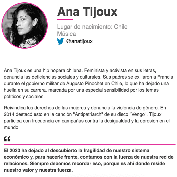 El espacio que la BBC le dedicó a Ana Tijoux entre las 100 mujeres más inspiradoras e influyentes de 2020